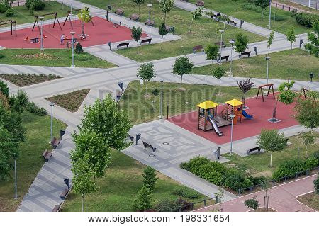 Kids Play Place In The Park Seen From Above