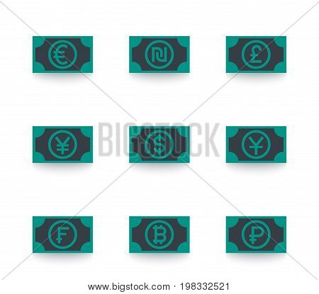 currencies icons, euro, shekel, pound, yen, dollar, franc, ruble, yuan vector symbols, eps 10 file, easy to edit