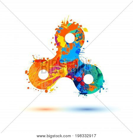 Hand spinner toy. Vector watercolor splash paint icon. Popular bauble