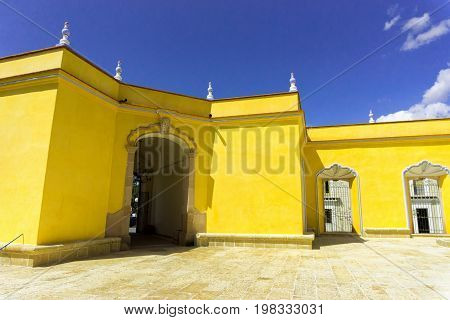 Yellow building in Ocotlan de Morales close to Oaxaca Mexico