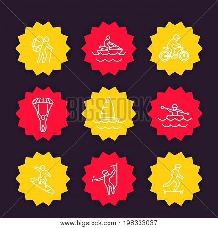 extreme outdoor activities icons, linear style, eps 10 file, easy to edit