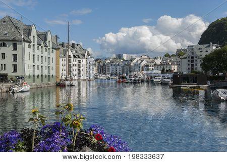 Art nouveau city Alesund in Norway in summer