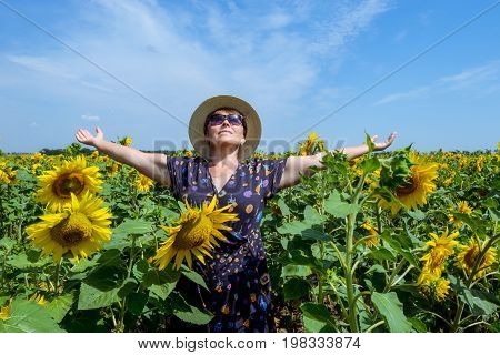 Attractive Middle Age Woman In Straw Hat With Arms Outstretched In Sunflower Field, Celebrating Free