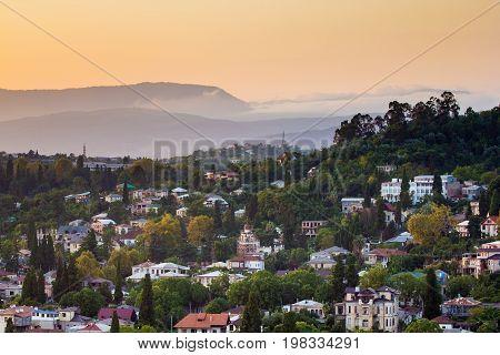 Evening Sukhum, capital of Abkhazia. Aerial view