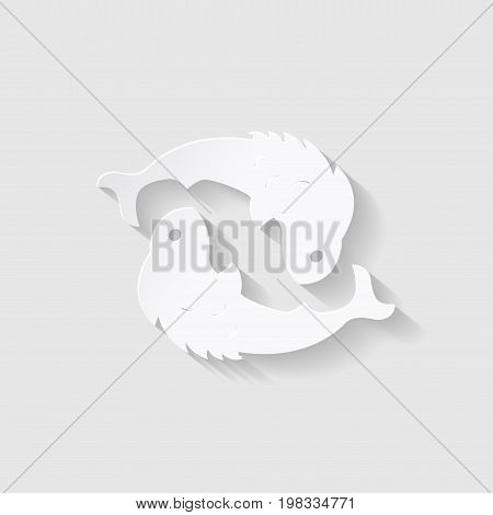 Horoscope paper cut style. Concept of two fish for Pisces. Vector illustration.