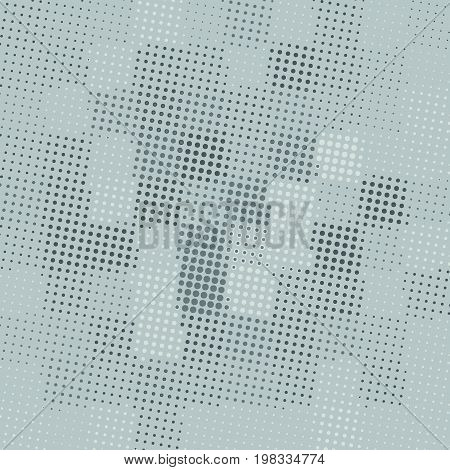 Halftone pattern background. Halftone dots on grey background. Screen print texture. Geo geometric texture with dots of different sizes