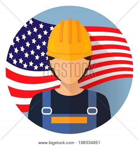 Avatar. Labor day, September 7, in the United States of America, American design, labor day. Logo worker woman. Labor day poster design. Stock vector.