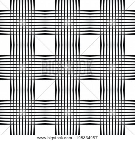 Crosshatch vector seamless pattern. Crossed graphic pattern. Seamless black and white background texture of crosshatched bold lines. Trellis pattern. Simple fabric print. Screen print texture