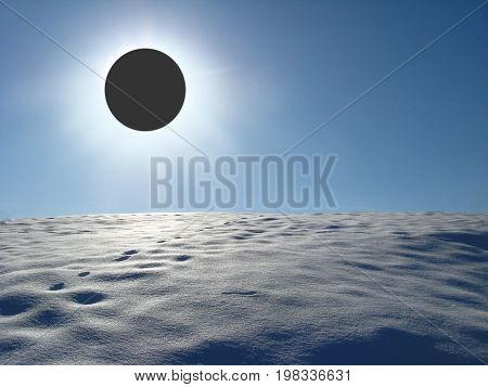Winter landscape with solar eclipse above the snowy desert. Solar eclipse above the snow