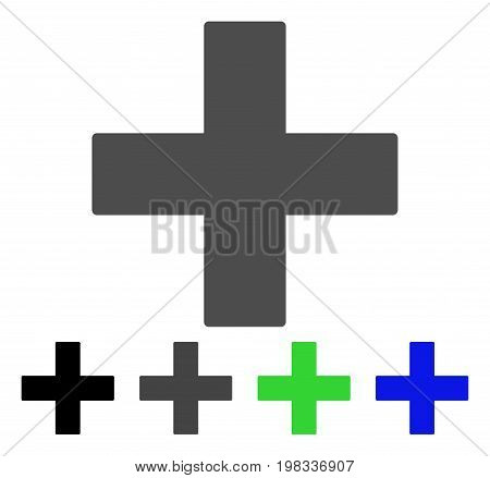 Add Math Operation flat vector icon. Colored add math operation, gray, black, blue, green pictogram variants. Flat icon style for application design.