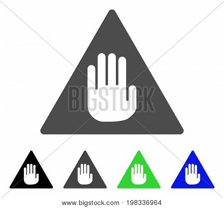 Caution flat vector pictogram. Colored caution, gray, black, blue, green icon versions. Flat icon style for application design.