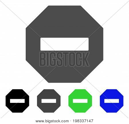 Forbidden Octagon flat vector pictograph. Colored forbidden octagon, gray, black, blue, green icon variants. Flat icon style for web design.