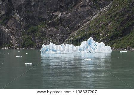 Huge ice burg glacier in the ocean in Alaska