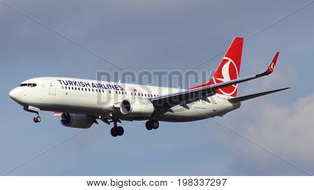 FRANKFURT, GERMANY - FEB 28th, 2015: Boeing 737 Next Gen - MSN 42006 - TC-JVE of Turkish Airlines landing at Frankfurt International Airport FRA. Turkish Airlines is the national flag carrier airline of Turkey.