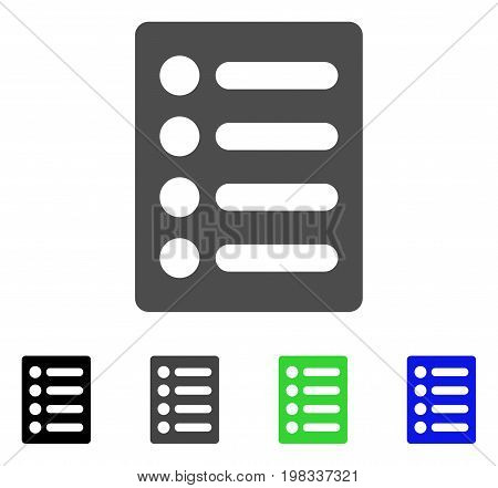 List flat vector icon. Colored list, gray, black, blue, green icon versions. Flat icon style for graphic design.