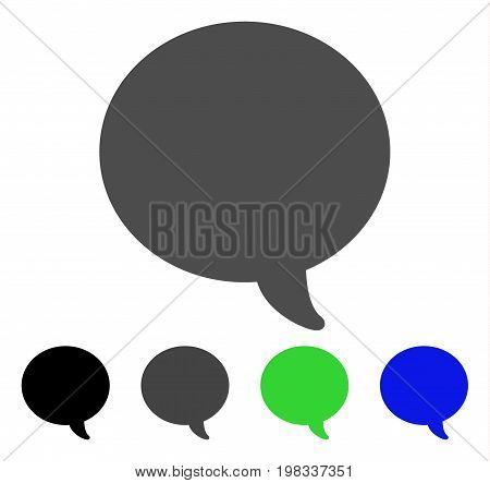 Message Bubble flat vector illustration. Colored message bubble, gray, black, blue, green pictogram variants. Flat icon style for graphic design.