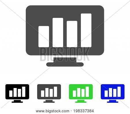 Monitor flat vector pictograph. Colored monitor, gray, black, blue, green pictogram versions. Flat icon style for web design.