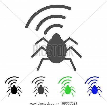 Radio Bug flat vector pictogram. Colored radio bug, gray, black, blue, green pictogram versions. Flat icon style for web design.
