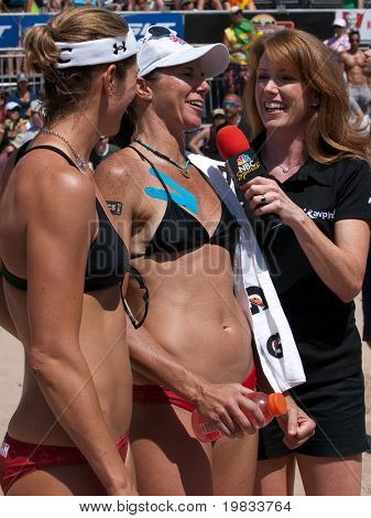 HERMOSA BEACH, CA. - AUGUST 8: Nicole Branagh (L) and Elaine Youngs (R) being interviewed by NBC sports after winning the womens final of the AVP Hermosa Beach Open. August 8, 2009 in Hermosa Beach.