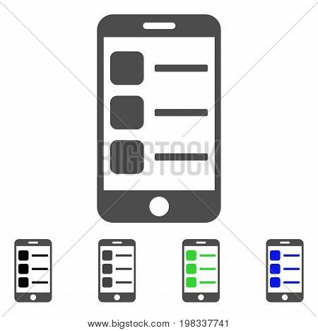 Smartphone List flat vector pictograph. Colored smartphone list, gray, black, blue, green pictogram versions. Flat icon style for web design.