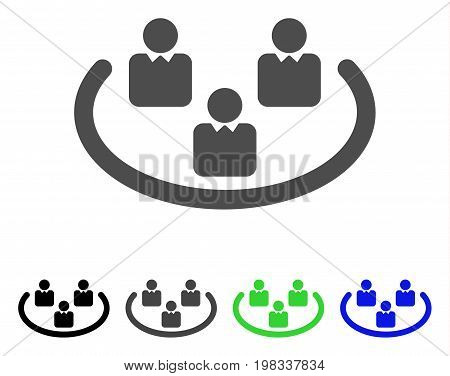 Social Networks flat vector illustration. Colored social networks, gray, black, blue, green pictogram variants. Flat icon style for web design.