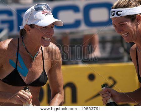 HERMOSA BEACH, CA. - AUGUST 8: Nicole Branagh (R) and Elaine Youngs (L) celebrating after winning the womens final of the AVP Hermosa Beach Open. August 8, 2009 in Hermosa Beach.