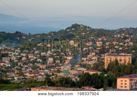 Evening downtown of Sukhum, Abkhazia. Aerial view