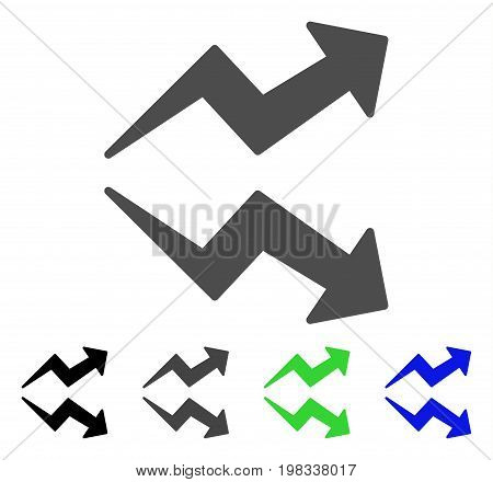 Trends flat vector illustration. Colored trends, gray, black, blue, green icon versions. Flat icon style for web design.