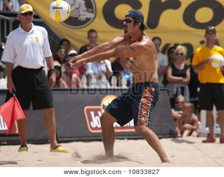 HERMOSA BEACH, CA. - AUGUST 9: Phil Dalhausser and Todd Rogers (pictured) vs. John Hyden and Sean Scott for the mens final of the AVP Hermosa Beach Open. August 9, 2009 in Hermosa Beach.