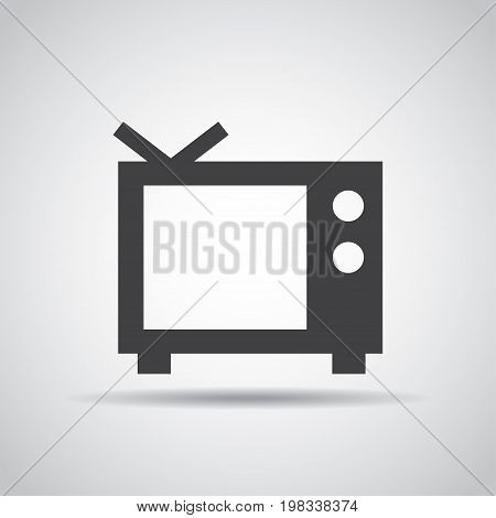 TV icon with shadow on a gray background. Vector illustration