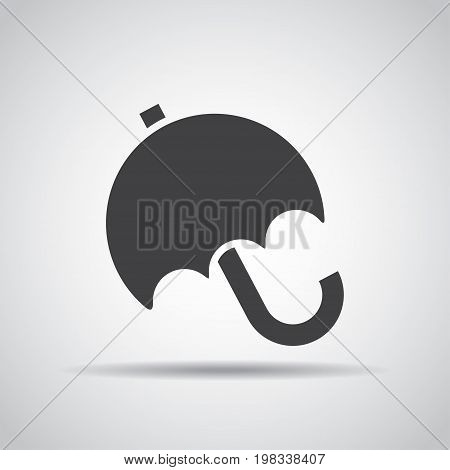 Umbrella icon with shadow on a gray background. Vector illustration