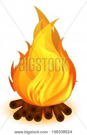 Fire bp wooden timber, vector art illustration.