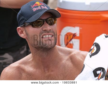 HERMOSA BEACH, CA. - AUGUST 9: Phil Dalhausser during a timeout of the mens final of the AVP Hermosa Beach Open. August 9, 2009 in Hermosa Beach.