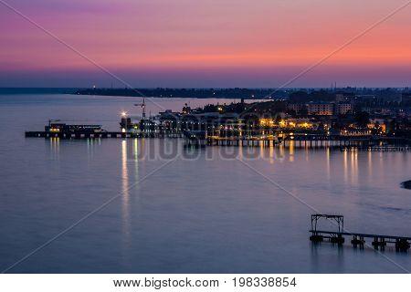 Evening sunset over black sea. Sukhum, Abkhazia. Aerial view