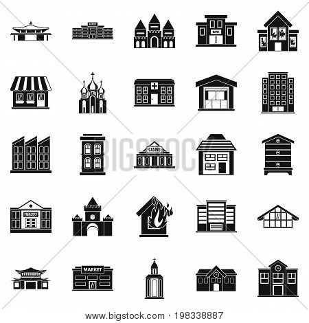 Land development icons set. Simple set of 25 land development vector icons for web isolated on white background