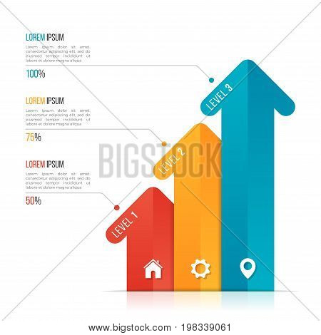 Arrow infographic template for data visualization. 3 options, levels, steps. Vector illustration