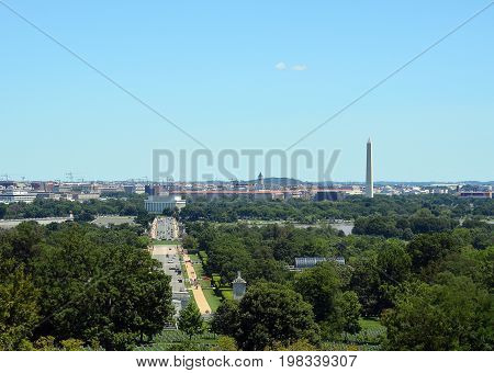 Panoramic photo of Washington, D.C. skyline along the Potomac River.