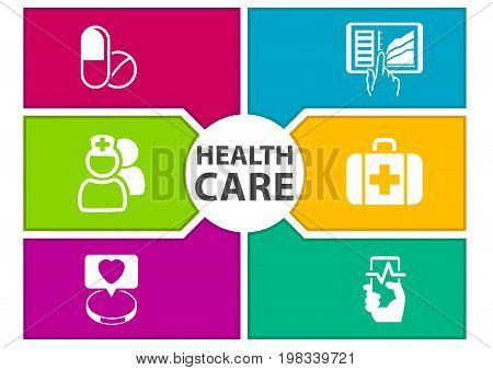 Colorful digital healthcare background with icons regarding wearables, dashboard, tablets, medicine, smart phone