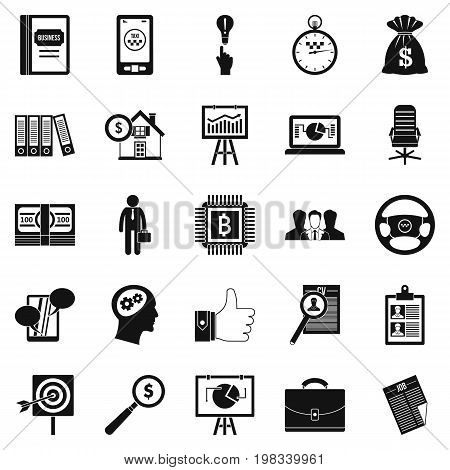 Work week icons set. Simple set of 25 work week vector icons for web isolated on white background
