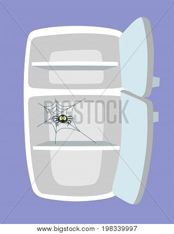Empty fridge. Kitchen refrigerator with spider and web. Absolutely no food. Nothing to eat concept. Cartoon style. Vector illustration.