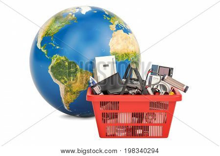 Globe Earth with shopping basket full of home and kitchen appliances global shopping concept. 3D rendering