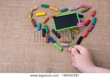 Notice Board In The Middle Of Crayon Heart