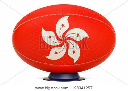 Rugby Ball with flag of Hong Kong 3D rendering isolated on white background