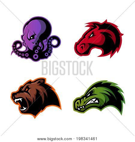 Furious octopus, bear, alligator and horse head sport vector logo concept set isolated on white background.  Modern team badge design. Premium quality wild animal t-shirt tee print illustration.
