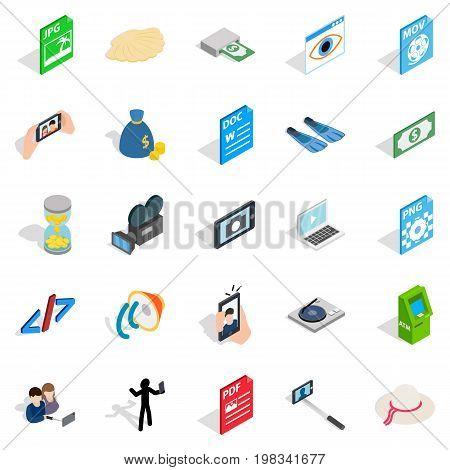 Webcam icons set. Isometric set of 25 webcam vector icons for web isolated on white background