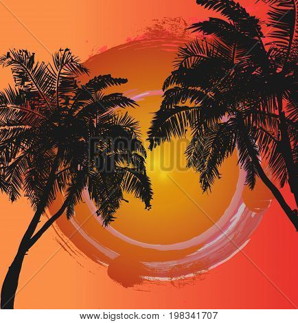 Abstract palm trees at sunset, vector art illustration.