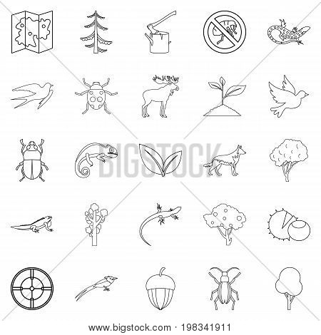 Locality icons set. Outline set of 25 locality vector icons for web isolated on white background