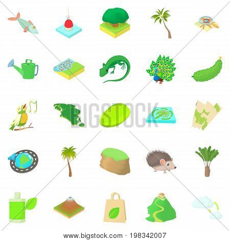Hiking trails icons set. Cartoon set of 25 hiking trails vector icons for web isolated on white background