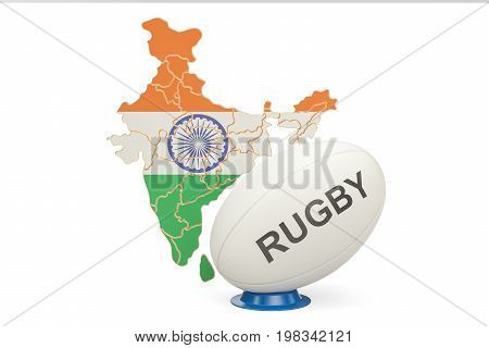 Rugby Ball with map of India 3D rendering