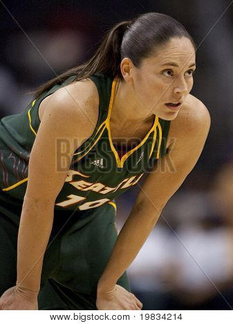 LOS ANGELES, CA. - SEPTEMBER 16: Sue Bird playing at the WNBA playoff game of the Sparks vs. Storm on September 16, 2009 in Los Angeles.